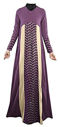 Plaid&Plain Women's Long Sleeve Muslim Islamic Abayas Lace A-line Maxi Dress