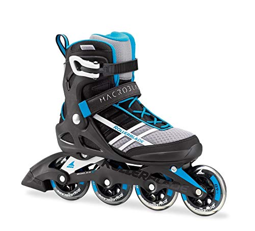 Rollerblade Macroblade 84 Womens Adult Fitness Inline Skate - White/Cyan Blue - 84 mm / 84A Wheels with SG7 Bearings - Performance Skates -US size 7, White/Cyan Blue, Size 7 (Renewed) ()