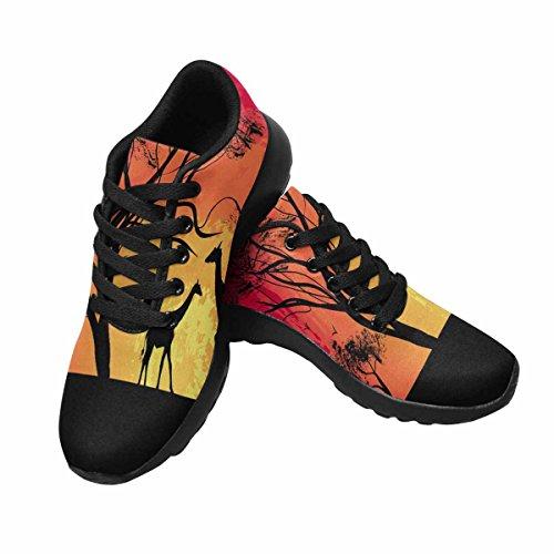 Interestprint Mujeres Trail Running Zapatillas Jogging Ligero Deportes Walking Athletic Sneakers Una Jirafa, Puesta De Sol En África, Paisaje Multi 1