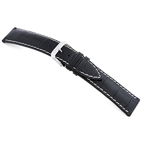 Embossed Leather Shorts - 20mm (S) RIOS1931 Black New Orleans - Genuine Embossed Leather Watch Band with Gator Print and White Stitching 104x72