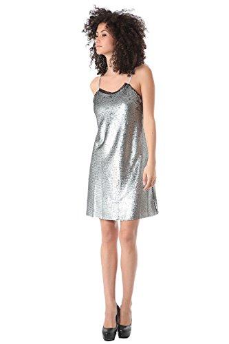 Q2 Femme Mini robe caraco ornée de sequins silver