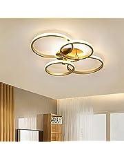 Lanekd LED decoratieve slaapkamer plafondlamp eetkamer lamp woonkamer plafondlamp goud ronde ring design jeugdkamer lamp modern dimbaar kroonluchter keuken eettafel hanglamp bureaulamp 4 ringen