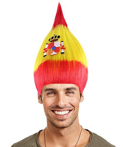 National Flag Troll Wig, Adult & Kids (Kids, Spain) -