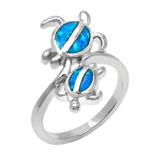 Twin Hawaiian Turtle Honu Silver Ring with Simulated Blue Opal, Size ()