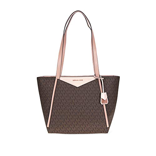Michael Kors Whitney Medium Signature Logo Tote- Brown/Soft Pink/Fawn ()