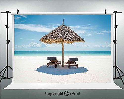 Seaside Photography Backdrops Wooden Sun Loungers Facing Eastern Ocean Under a Thatched Umbrella in Zanzibar,Birthday Party Background Customized Microfiber Photo Studio Props,5x3ft,Turquoise Cream