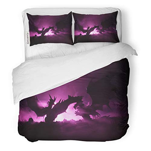 Semtomn Decor Duvet Cover Set Twin Size Silhouette of Fire Breathing Dragon Big Wings on Dark 3 Piece Brushed Microfiber Fabric Print Bedding Set Cover