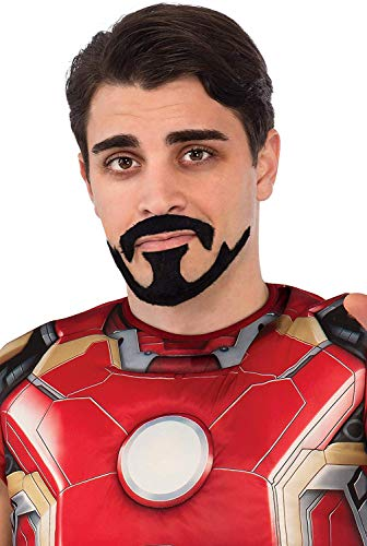 Black Iron Man Halloween Costume (Rubie's Men's Avengers 2 Age Of Ultron Iron Man Tony Stark Mustache, Black, One)