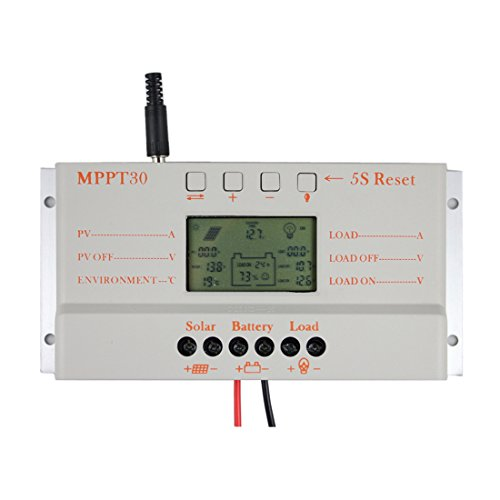Y&H 30A MPPT Solar Charge Controller 12V/24V Solar Panel Battery Voltage Intelligent Regulator with USB Port LCD Display,PWM Charger by Y&H