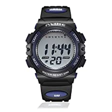 Kid Cool Outdoor Sport Unique Digital Electronic Analog Quartz Waterproof Rubber Band Watch with Chronograph, Alarm, Stopwatch, Calendar Date Window for Children Boys Girls - Blue