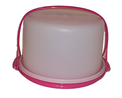 Tupperware Vintage Style Round Dome Cake Taker with Handle Pink