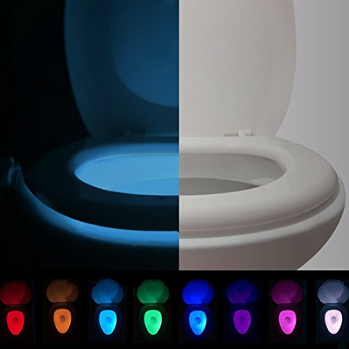 [Upgraded Version] AOSTAR Toilet Night Light Motion Activated Ultraviolet LED Toilet Bowl Light Battery Operated (8 Colors & 2 Modes) by AOSTAR