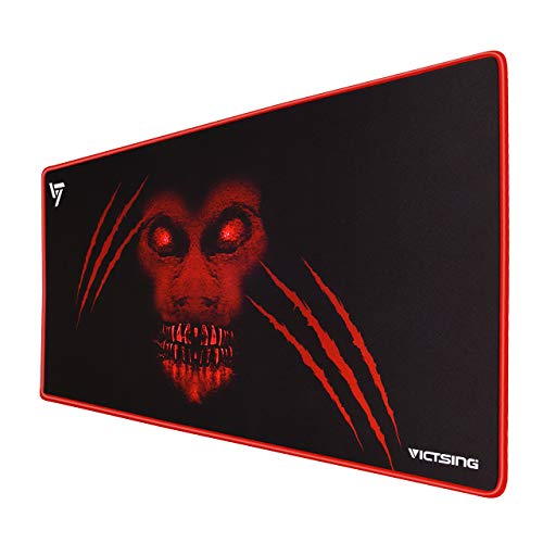 (VicTsing Extended Gaming Mouse Pad, Thick Large (31.5×15.75×0.12 Inch) Computer Keyboard mousepad Mouse Mat, Water-Resistant, Non-Slip Base, Durable Stitched Edges, Ideal for both Gaming, Red)