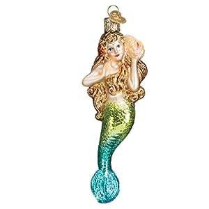 Amazon.com: Old World Christmas Mermaid Glass Blown Ornament: Home ...