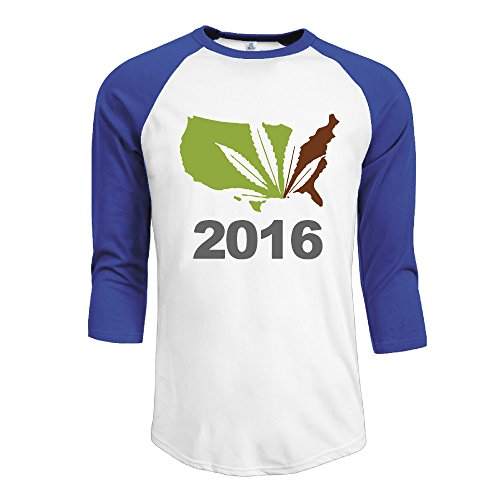 Casual Ameican Map 2016 Cannabis Leaf Crew-Neck 3/4-Sleeve RoyalBlue Small