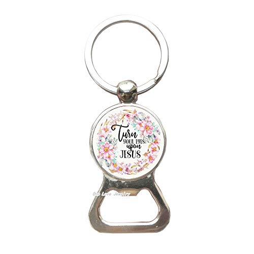 Just your eyes opon Jesus Bible Verses Bottle Opener Keychain,Glass Dome Key Ring Bottle Opener Keychain,Scripture Quote Jewelry Christian Faith,Inspirational Gift,TAP144