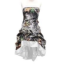 DINGZAN High Low Pleated Tea Length Bridesmaid Dresses Camo Formal