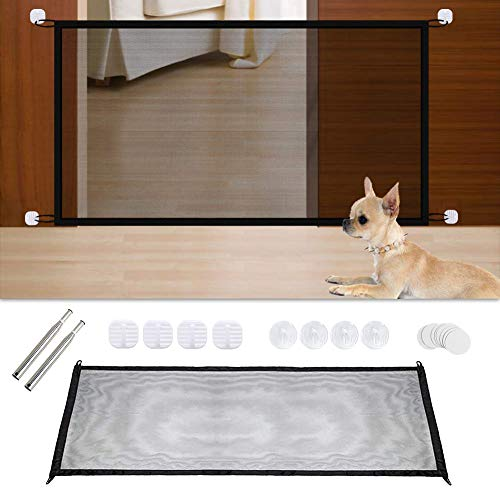 WKS Magic Gate, Pet Portable Folding Safety Enclosure Install Anywhere for Small Dogs Mesh Fence Safe Guard for Hall Doorway-As Seen On TV ()