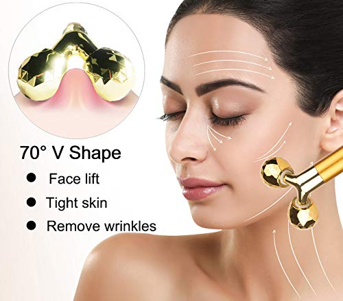 Face Massager Roller Golden 3D Roller Electric Sonic Energy Face Roller and T Shape Face Massager Kit Anti Aging Wrinkles Instant Face Lift Skin Tightening