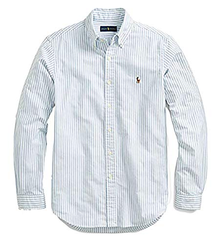 (Polo Ralph Lauren Mens Slim Fit Oxford Long Sleeve Buttondown Shirt (Medium, Blue & White Vertical Stripes))