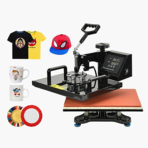 Nurxiovo 8 in 1 Heat Press Machine Swing Away Digital Sublimation Heat Pressing Transfer Machine for T-Shirt/Mug/Hat Plate/Cap 15x15
