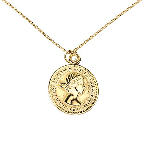 yomee 925 Sterling Silver Queen Elizabeth 6 Pence Lucky Pendant Necklace