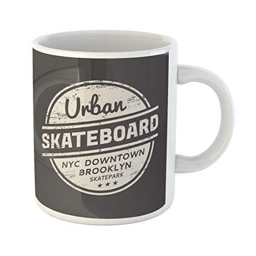 Semtomn Funny Coffee Mug Skateboarding and Skateboard in