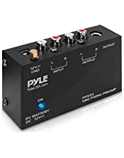 Pyle Phono Turntable Preamp - Mini Electronic Audio Stereo Phonograph Preamplifier with 9V Battery Compartment, DC 12V Power Adapter, RCA Input/Output & Low Noise Operation (PP555)