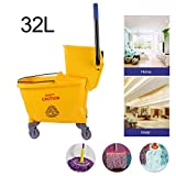Homgrace Side Press Mop Wringer Bucket, Portable 360 Degree Free Rotation Wheel Cleaning Mopping Trolley (32L)