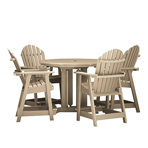 highwood AD-CNA48-TAU Hamilton 5-Piece Round Counter Height Dining Set, Tuscan Taupe