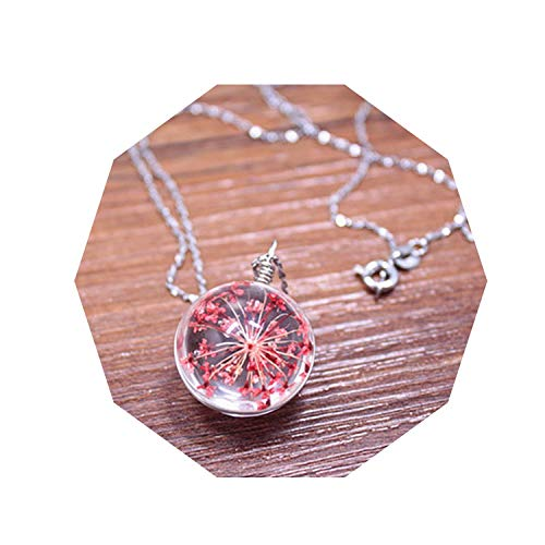 1pc Fashion Dried Flower Glass Ball Necklace Cute Glass Dome Glass Ball Pendant Jewelry Clothes Creative Accessories for Women,Red