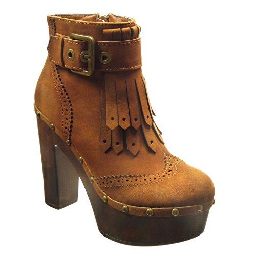 Angkorly - Zapatillas de Moda Botines zapatillas de plataforma altas mujer fleco Hebilla tachonado Talón Tacón ancho alto 11.5 CM - Camel