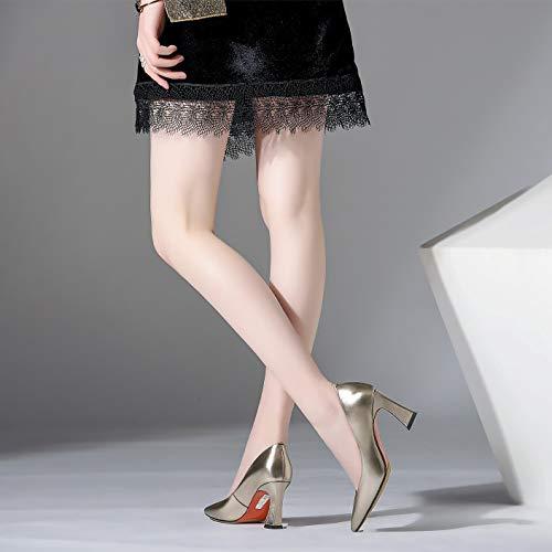 Frauen Spitz Spitz Spitz Block Mittlere Fersen Echtes Leder Braut Arbeit Kleid Schuhe Damen Slip On Fashion High Heel Pumps Hochzeit Gericht Schuhe 9cad5a