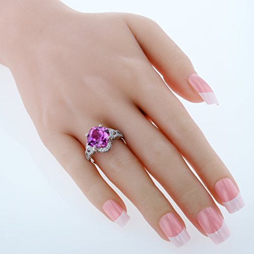Sterling Silver Cushion Halo Ring Sizes 5 to 9 in Various Gemstones