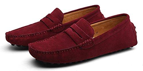 Hombres Zapatillas Rojo Vino Mocasines Eagsouni® De Pisos Casual Conducción Loafers Gamuza Zapatos 4I46xHUwq