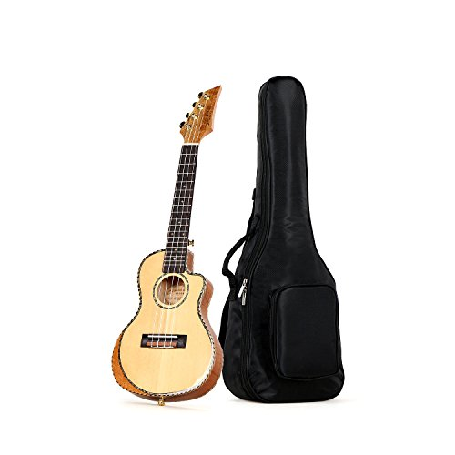 Oriental cherry Concert Cut-away Ukulele Grade A Solid Spruce top Rotten back and side 24 inch with gig bag
