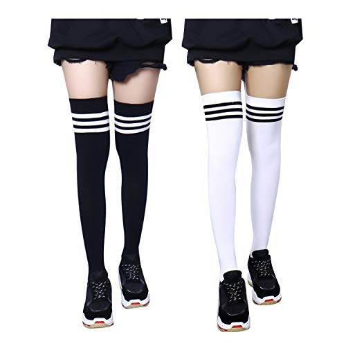 Bestjybt Women Extra Long Cotton Over the Knee Socks Thigh High Socks High Boot Stockings Cotton Leg Warmers (2 Pairs-Style 02)
