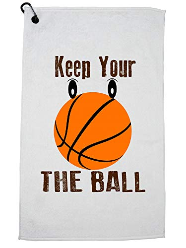 Hollywood Thread Keep Your Eye On The Ball - Basketball - Popular Saying Golf Towel with Carabiner Clip by Hollywood Thread
