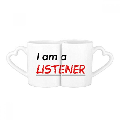 Quote I Am A Listener Lovers' Mug Lover Mugs Set White Pottery Ceramic Cup Gift with ()
