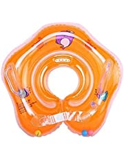 Inflatable Baby Neck Swimming/Bath Float Baby Swim Float Swimming Ring (Orange)