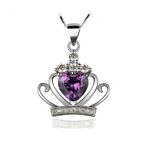 Acxico 925 Sterling Silver Princess Crown Shape with Heart Shape amethyst Inlaid - Delivery Same Prices Day Usps