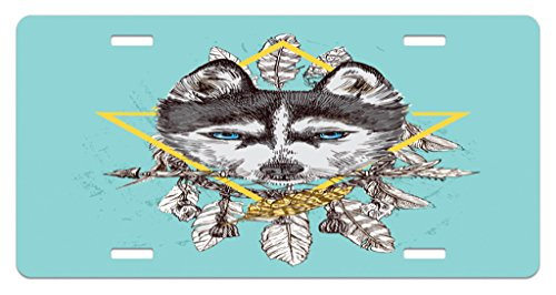 Lunarable Husky License Plate, Boho Portrait Ornamented with Native American Style Feathers, High Gloss Aluminum Novelty Plate, 5.88 L X 11.88 W Inches, Pale Blue Charcoal Grey Pale (American Portraits Plate)