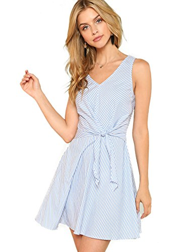 (Milumia Women's Deep V Neck Fold Pleat Mixed Stripe Pinstripe Sleeveless A Line Short Dress Medium Blue-2)