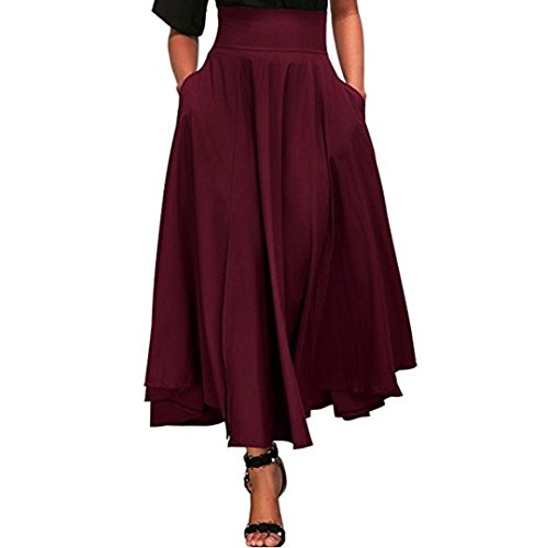- AmyDong Ladies Dress Women High Waist Pleated A Line Long Skirt Women's Half-Length Skirt with Straps and Waistband Pockets (M, Red)