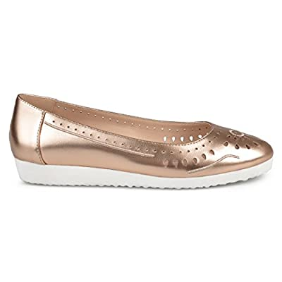 Brinley Co Womens Cyra Faux Leather Laser-Cut Comfort-Sole Embroidered Lightweight Flats