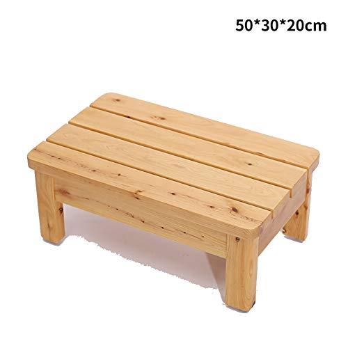 Stools Footstool Work Stool Shower Stool Step Stool Solid Wood Pedal Small Sitting Stool Bedside Waterproof Antiseptic Pad High Bench Non-Slip Mat Tingting (Color : Wood)