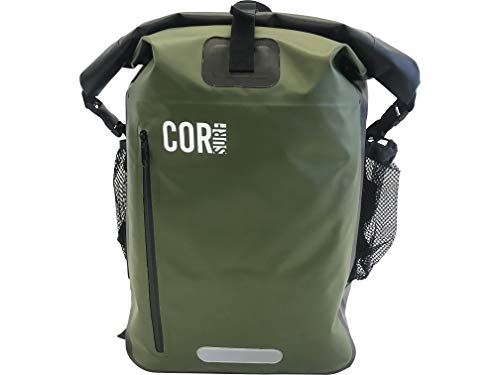 Waterproof Dry Bag Backpack with Padded Laptop Sleeve 40 Liter Green by Cor Surf