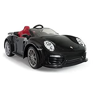 INJUSA-7184 INJUSA - Porsche 911 Turbo S Negro a Batería de 12V Edición Especial para Niños a Partir de 3 Años con Control Remoto y Conexión MP3, ...