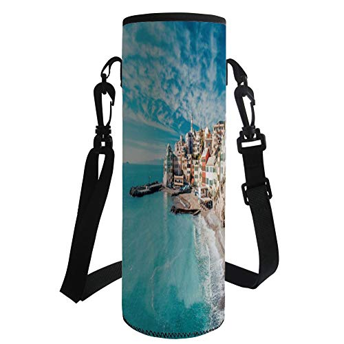 iPrint Water Bottle Sleeve Neoprene Bottle Cover,Farm House Decor,Panorama of Old Italian Fish Village Beach Old Province Coastal Charm Image,Turquoise,Fit for Most of Water Bottles
