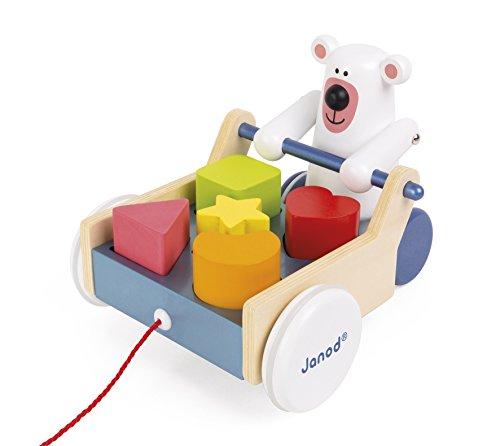 Janod Zigolos Pull Along Shape Box Bear Baby Toy
